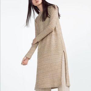 NWT Zara Oversized Ribbed Long Sleeve Midi Dress